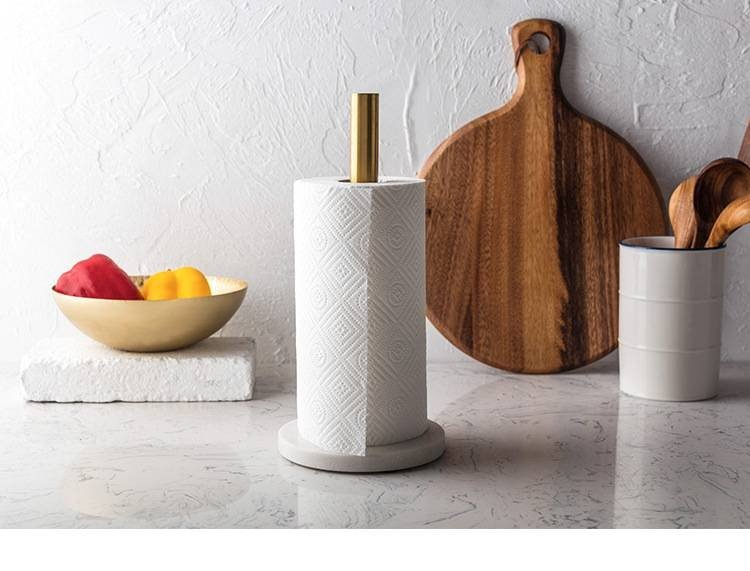 Luxury Nordic Marble Kitchen Paper Holder Gold Plated