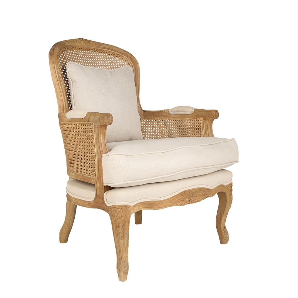 Luxury Rustic French Linen Upholstered Oak Armchair ...