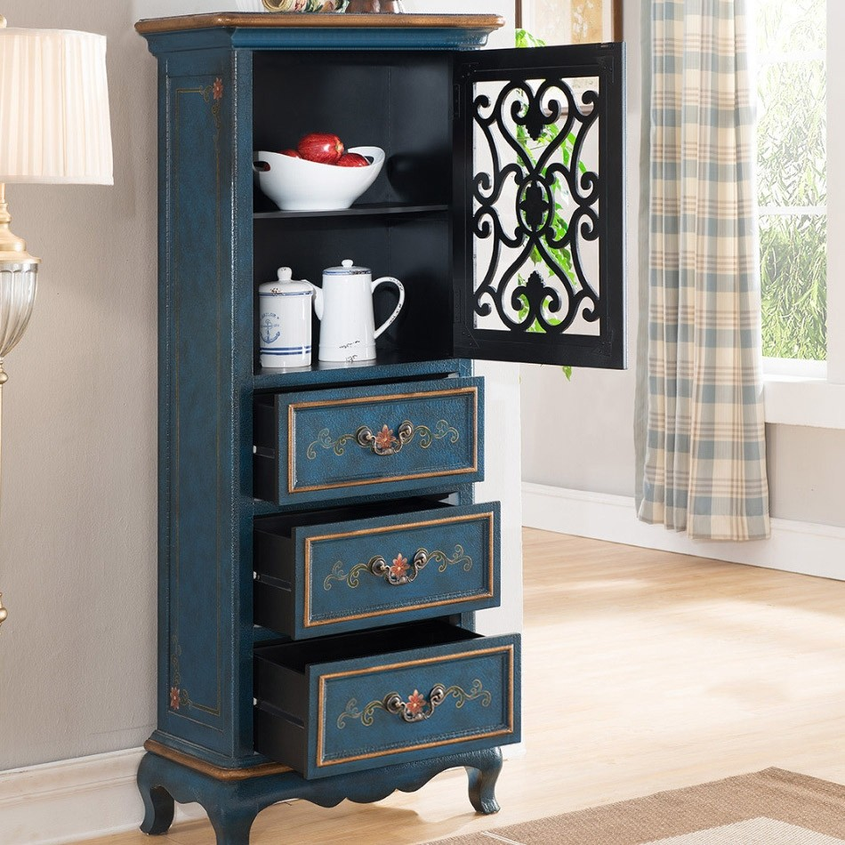 Luxury Rustic Tall Antique Cabinet 3-Drawer Weathered ...