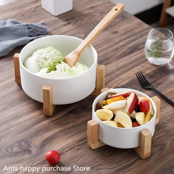 Bol à salade de fruits créatif Bol à soupe en céramique à usage ménager Pot à soupe Bol à collations instantané avec cadre en bois