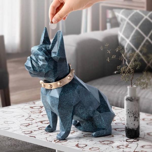 mignonne tirelire boîte résine chien figurine décorations pour la maison pièce de rangement titulaire de la boîte jouet enfant organisateur de cadeau boîte à monnaie chien pour enfants