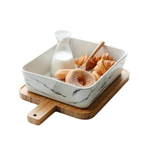 Style européen Céramique marbre Texture plaque avec planche à découper en bois Kit Accueil pain de salade de fruits grande vaisselle profonde vaisselle
