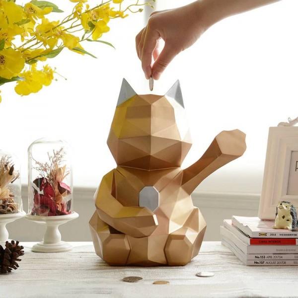 Chanceux chat figurine décoratif mignon tirelire chat décor à la maison cadeau moderne géométrique chat tirelire stocker tirelire pour les enfants