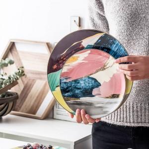 1 PCS Vaisselle Aquarelle Peinture Incrustation D'or Coloré Cloud 8/10 pouces Assiette En Céramique Dîner Porcelaine Cake Snack Assiette À Dessert