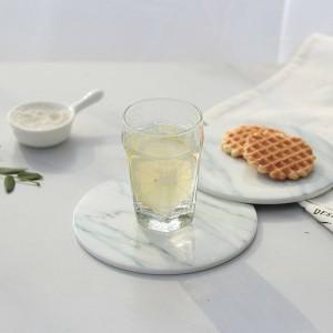 2pcs / pack Marble Grain Coaster Cup Mats Pads Pads En Céramique Home Cuisine Outils De Bureau Non-slip De Luxe Décor Cup Pad Pad Diamètre 15 cm
