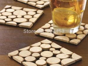 4pcs / pack tapis de coupe en bois massif plaquettes de table dessous de table dessous de tasse européenne 10x10cm