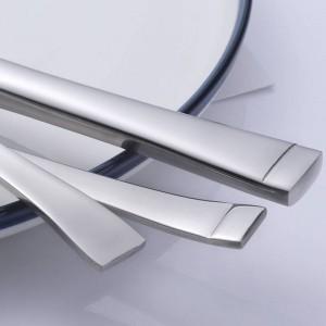 Ensemble de couverts en acier inoxydable de 5 pièces Service de bord carré pour couteau Fourchette Cuillère Vaisselle de table 5 pcs / set Vaisselle de haute qualité