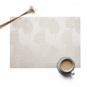 5pcs napperon en PVC tapis de table en plastique antidérapant motif de feuille imperméable à l'eau coin à manger tapis plaque plat tampons cuisine accessoires