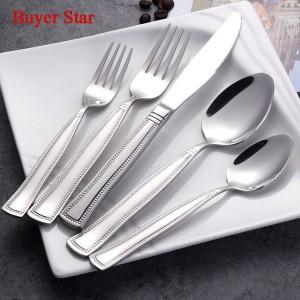 5pcs / set perlé bord couverts ensemble 18/8 service de vaisselle couverts en acier inoxydable pour couteau cuillère et fourchette ensemble de vaisselle