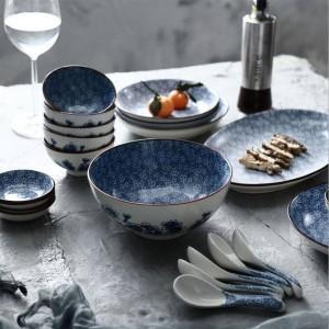 Assiette à dîner pour 6 personnes 22 lignes japonaises en céramique peintes à la main Plateau Plateau Bol à soupe bol de riz à la vapeur ensembles