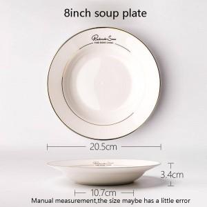 8 pouces bref or frontière os assiette de soupe hôtel spaghetti légumes profond plat vaisselle à la main pâtisserie ronde soucoupe cadeaux