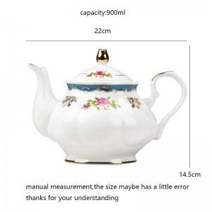 Thé de jardin d'après-midi de jardin européen de style européen 900ml Théière en céramique Pot à eau en os / À la maison Drinkware Thé au lait filtre à eau bouilloire