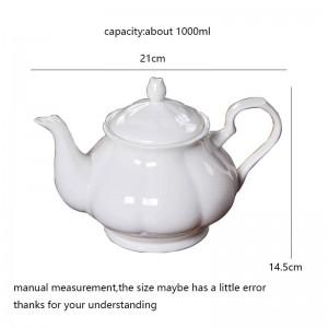 Environ 1000 ml moderne café pot de lait en os en céramique théière blanche Drinkware / jardin après-midi thé Pots noir thé bouilloires cadeau