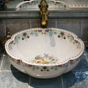 Artistique Procelain Europe Style Vintage Art lavabo En Céramique Comptoir Lavabo Salle De Bains Éviers navire éviers forme de fleur