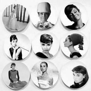 Audrey Hephurn Peinture Plaque Décorative Maison Tenture Murale Plat Noir Couleur Affiche Décoration Murale Créative En Céramique Artisanat Wallpeper