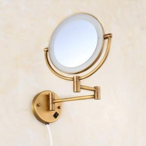 """Miroirs de salle de bains laiton antique 8 """"miroirs muraux ronds de miroir de salle de bains lumière LED se pliant cosmétique Vintage Mirror 2068F"""
