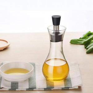 Assaisonnement en verre de borosilicate Bouteille de sauce de soja créative avec couvercle Non-slip Non Fuite d'huile Saucière Bateaux Vaisselle