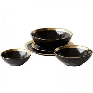 Assiette en Céramique Vaisselle Dorée Noire Maison Cuisine Bol en Céramique Assiette Dorée