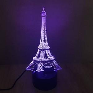 La lampe de table 3D colorée Tour Eiffel 3D créative illusion veilleuse touche le commutateur 7 couleur dégradé déco LED lampe de bureau comme cadeau