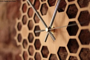 Creative Hexagone journal nid d'abeille horloge murale rural naturel Horloge suspendue Décorations pour la maison décor de ferme montre murale