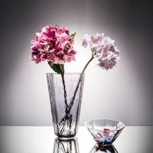 Vase à Fleurs En Verre Cristal Bord Doré