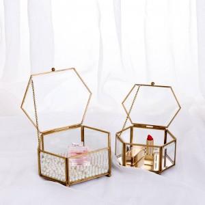 Boîte de rangement décorative en verre hexagonal géométrique boîte à bijoux miroir bijoux Eternal Flower décoration boîte artisanat
