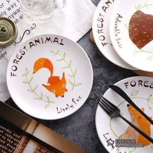 Style de la mode 8 * inch Dia Bone Céramique Riz Plat Motif De Bande Dessinée En Porcelaine Vaisselle Salade Sushi Gâteau Plat