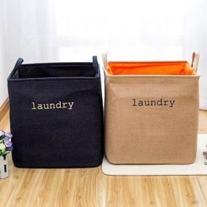 Panier à linge pliant grand denim coton panier à linge vêtements jouets mettre panier à linge sale boîte de rangement