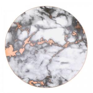 Plateau en céramique incrusté d'or de marbre de grain de plat unique de dîner plat de dessert plat de vaisselle de gâteau plateau
