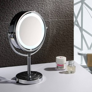 """8,5 """"miroir de maquillage de vanité de bureau LED allume le grossissement cosmétique double face de miroir x10 et chrome poli, normal"""