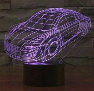 Vente chaude voiture colorée lampe 3D Led, commutateur tactile usb Enfants veilleuse éclairage lampe de chambre Acrylic graver 3D lumière de nuit visuelle