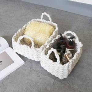Panier de rangement à la maison en corde de coton de style nordique, panier pour le tri des débris.