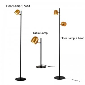 Lampadaire LED Luxe couleur dorée Lampe debout Corps en métal Nouvelle table Lampe de bureau Moderne Conception simpliste Nouveauté Lampe de plancher