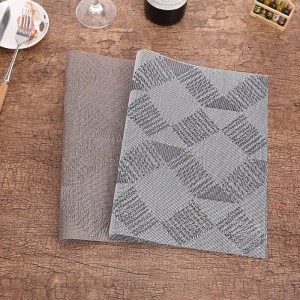 Lekoch 4Pcs / lot Set de table PVC Rectangle Table Tapis Napperons Gris Non-Slip En Plastique Bol Bol Pad Maison Cuisine Dîner Place Mats