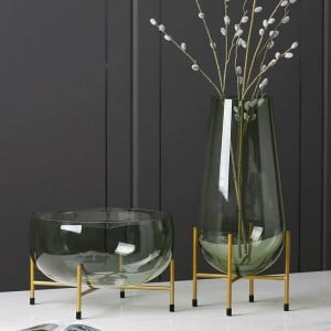Vase en verre de luxe Designer Fruit Plate Moderne Minimaliste Transparent Vase Décoration de La Maison Creative Décoration Cadeau