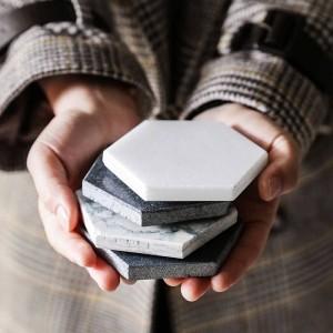 Luxe Marble Coaster Céramique maison hexagonale napperons Tapis Pads pour bol Coupe Vin Boisson Café Mug Décoration De Table tapis antidérapant