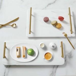 Plateau en céramique rectangulaire marbré de luxe à la maison