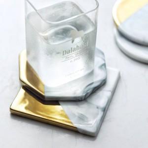 Marbre Grain Placage En Céramique Coaster Cup Mats Pads Décorations pour La Maison Outils de Cuisine De Bureau De Bureau Antidérapant De Luxe Pad Europe Style