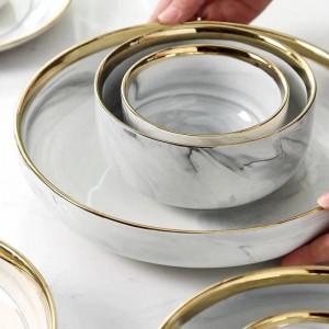 Marbré Phnom Penh Céramique Western Vaisselle Set Bol De Riz Ménage Assiette À Soupe Profonde Plat Bol À Soupe
