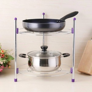 Multi-fonctionnelle cuisine rack de stockage en acier inoxydable pan pot organisateur rack Multi-couche rack réglable en hauteur