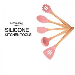 Multifonctionnel Vaisselle Cuisine Cadre En Bois Silicone Ustensiles De Cuisine Ustensiles De Cuisine 6 Pièce Ensemble Belle Mode
