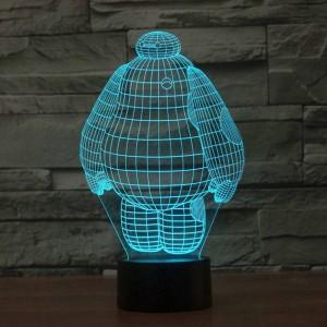 Nouveau grand peuple blanc 3d lampe LED acrylique coloré vacances déco stéréoscopique Veilleuse lampe de table avec commutateur tactile