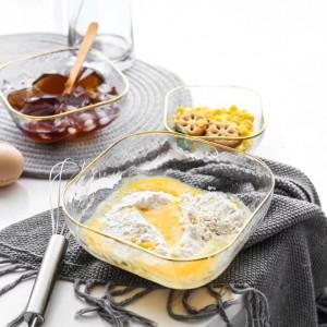 Nordic lumière luxe vent marteau verre bol occidental salade bol soupe beauté gastronomique créatif carré bol phnom penh