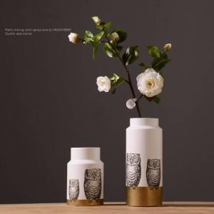 Nordic moderne en céramique créative hibou vase arrangement de fleurs chambre personnalité accueil décoration intérieure ornements