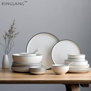 Service de vaisselle Nordic Procelain 2 personnes / 4 personnes / 6 personnes / 8 personnes / 12 personnes Ensemble de vaisselle simple en céramique White Black Line