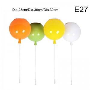 Un combo 3pcs led plafonnier rouge vert bleu jaune nouveauté couleur ballon enfant chambre lampe bulle Dia.30cm 35cm boule E27 ampoule
