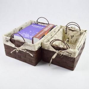 Boîte de rangement en rotin Panier à tablettes en herbe fait main Boîte de collations de débris de sous-vêtements de bureau de trompette créative
