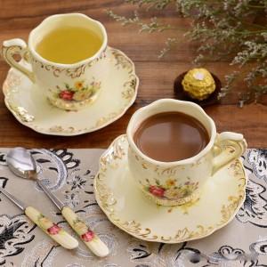 Tasses à café en céramique et soucoupes ensemble tasses à thé noir porcelaine Ivoire Couple quelques tasses à thé avec titulaire cadeau de Noël de café