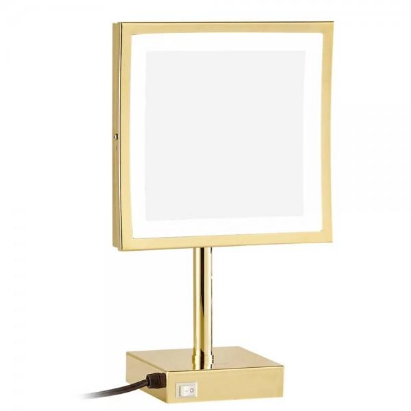Espejo de maquillaje cuadrado dorado de aumento 3X de pie en el tocador Espejo cosmético con 3 luces de nivel (natural / fresco / cálido)