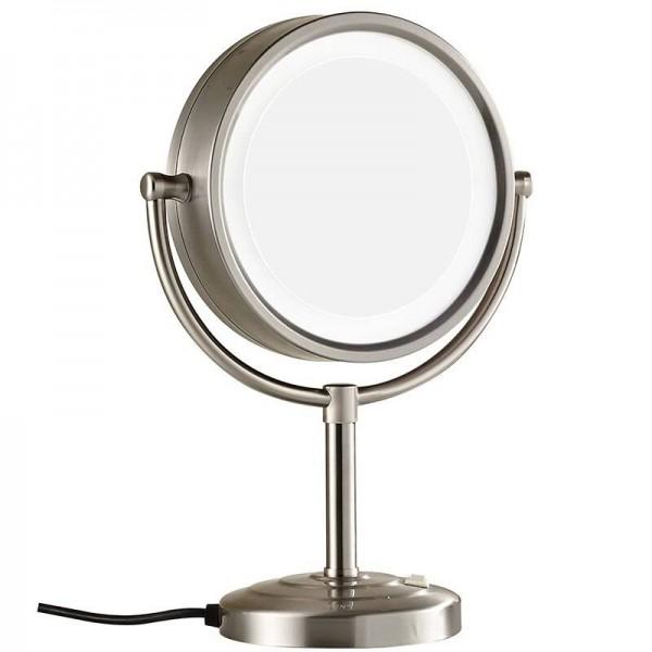 8.5 Pulgadas 10X Lupas de doble cara Espejos de maquillaje iluminados de pie en el tocador Acabado en níquel, aumento de 7x